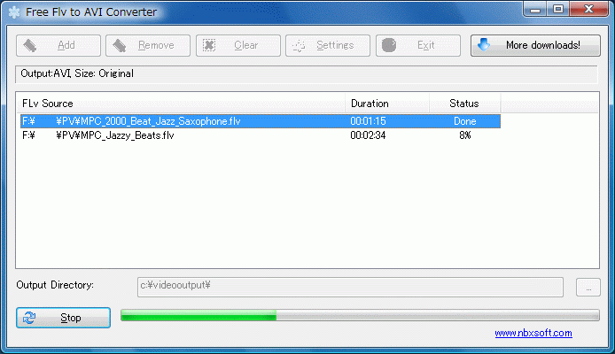 Free Flv to AVI Converter : FLASHビデオファイルからavi,mpeg,wmvに変換