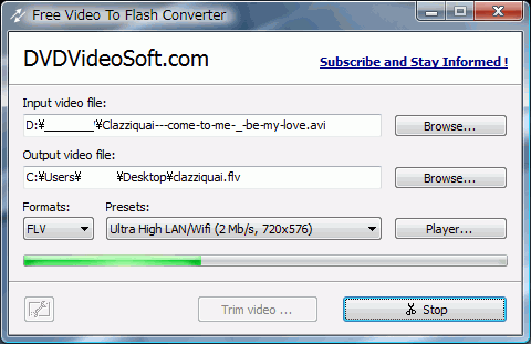 Free Video to Flash Converter : 動画からFLV,SWFにHTML付きで変換