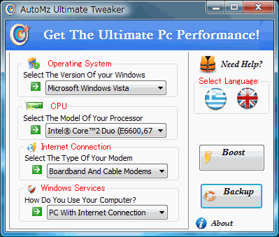 AutoMz Ultimate Tweaker : Windows XP/Vistaを自動で強力に高速化・最適化