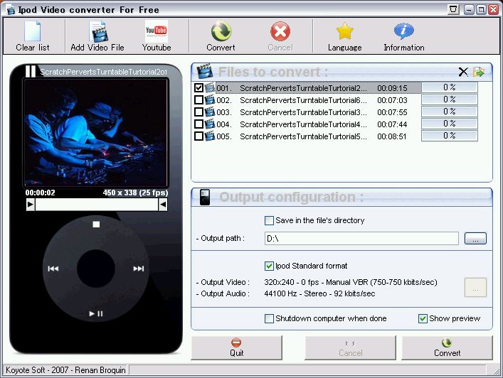 iPod Video Converter : iPod用に動画ファイルを一括変換